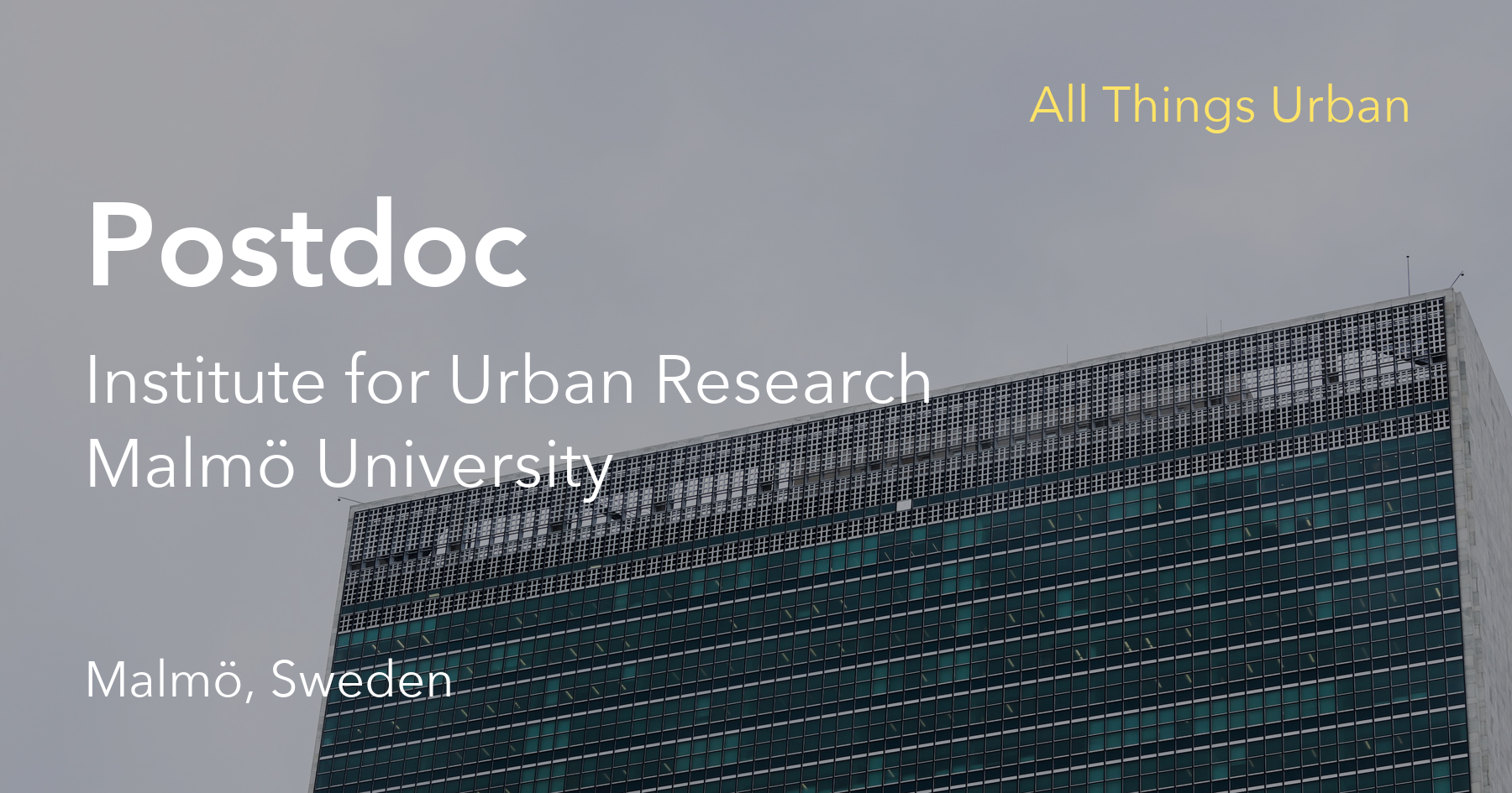 All Things Urban - Postdoc at the Institute for Urban